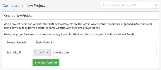 crear un proyecto con sitebulb