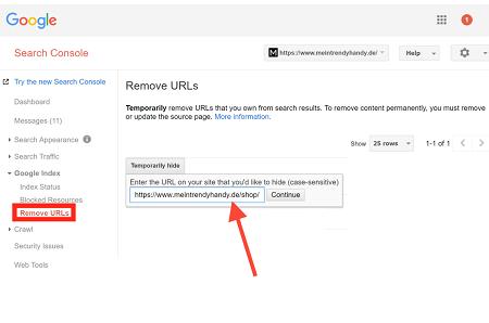 eliminar url con search console