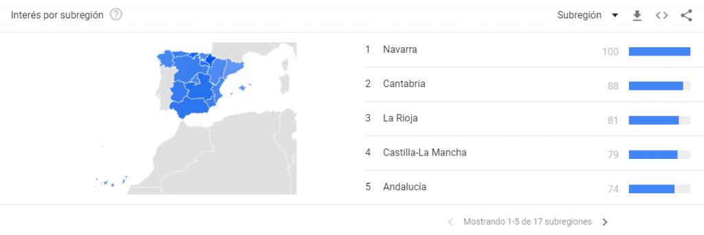 tendencias a nivel local en españa de Google Trends