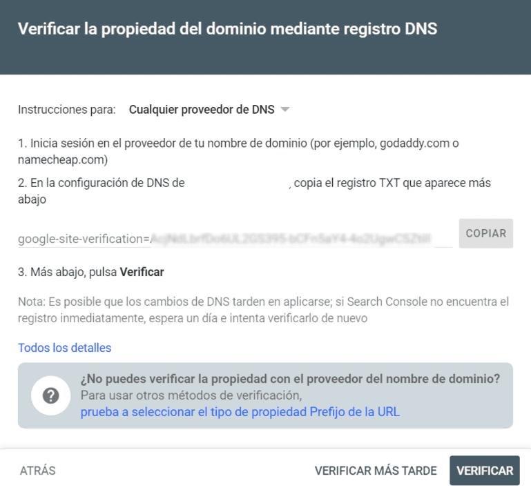 registro dns search console