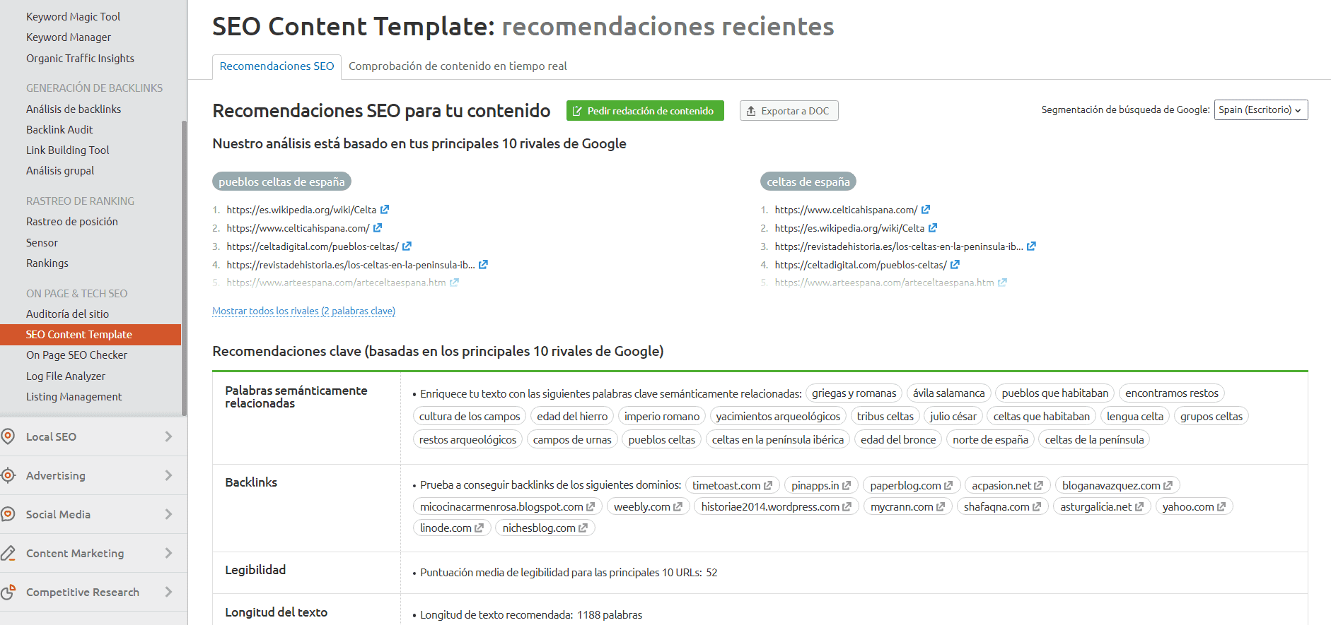 seo content template recomendaciones de contenido