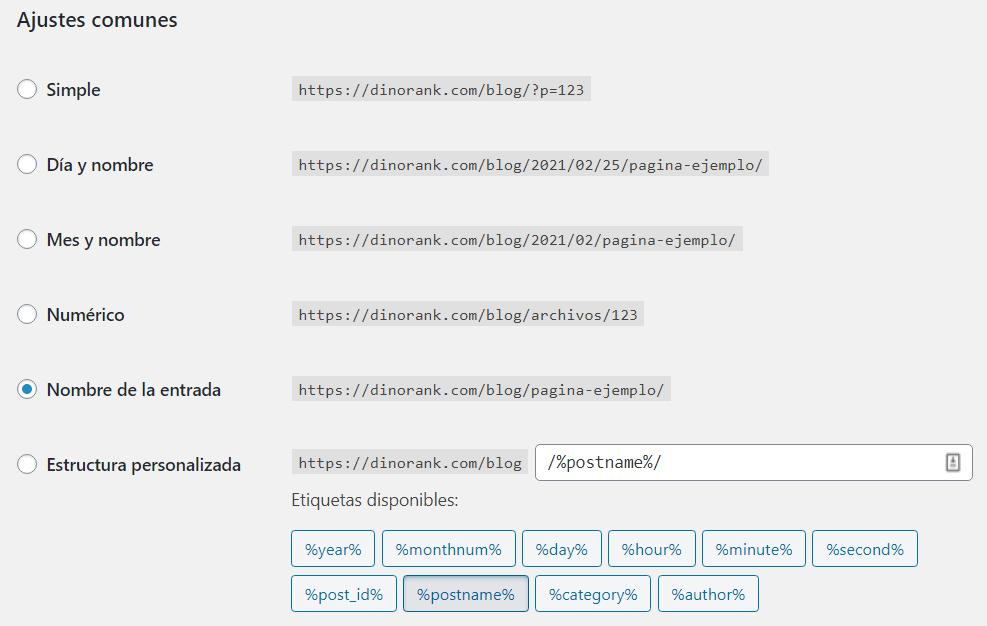 ajustes links wordpress