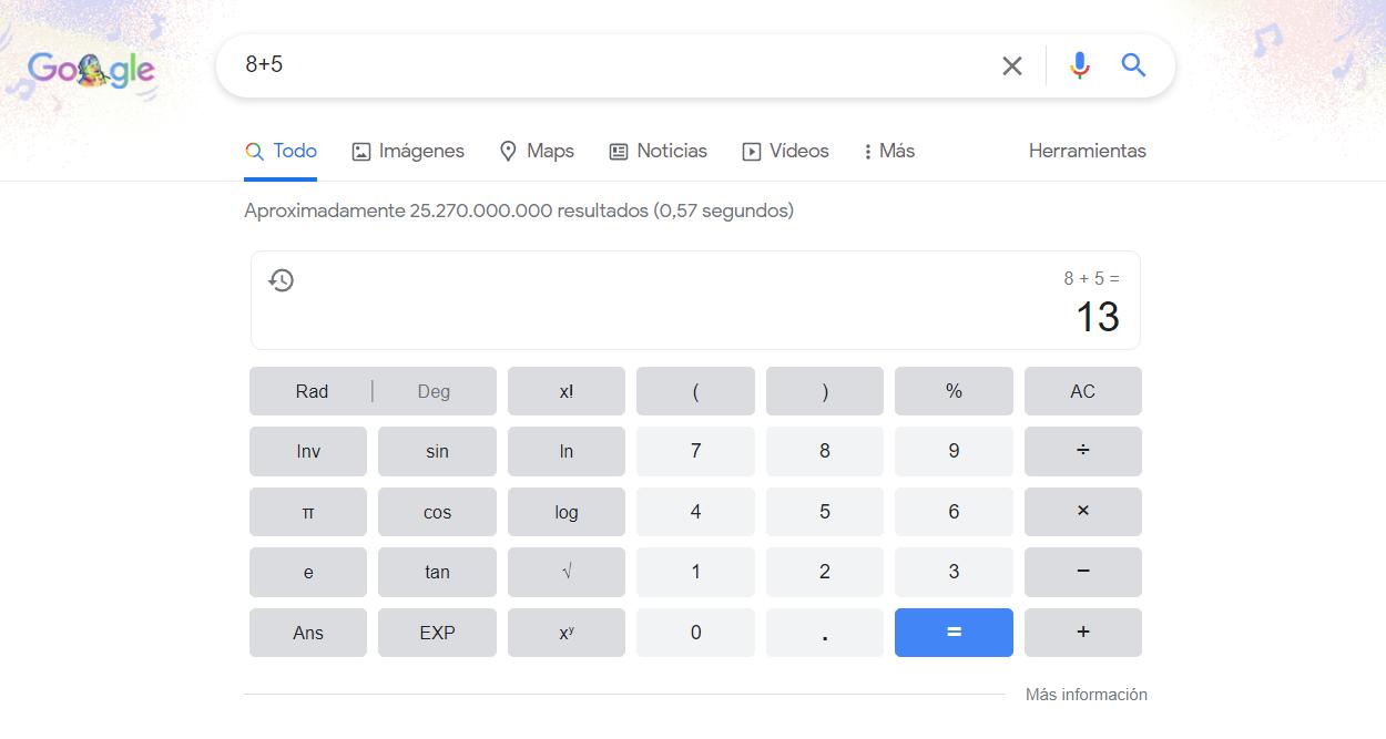 calculos con google