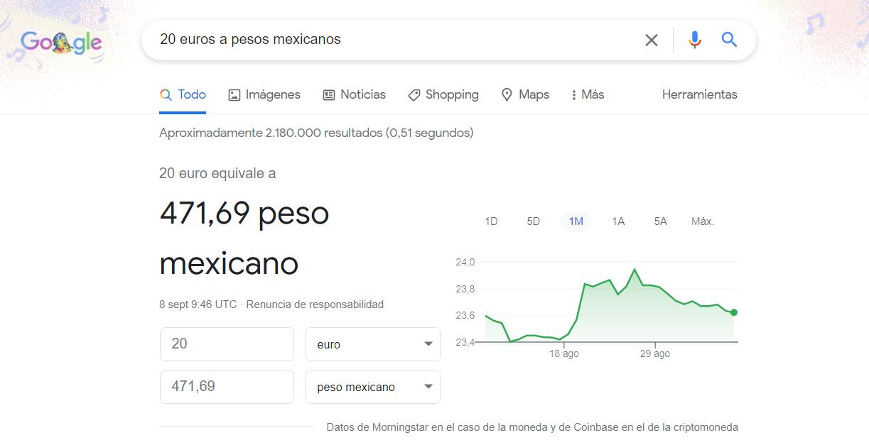 cambio de divisas google