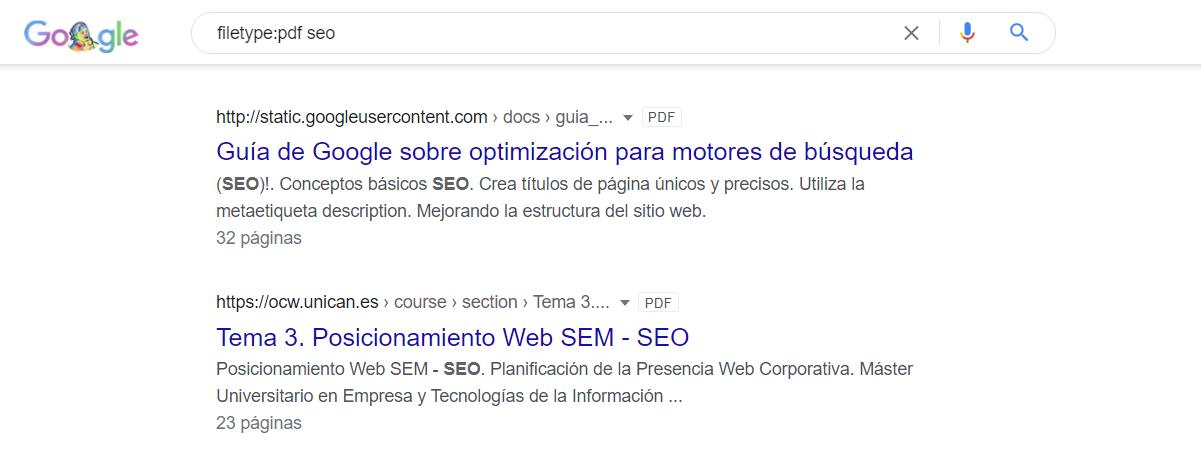 comando filetype google