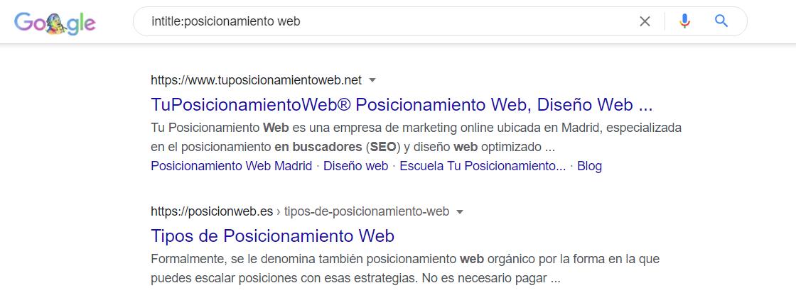 comando intitle google